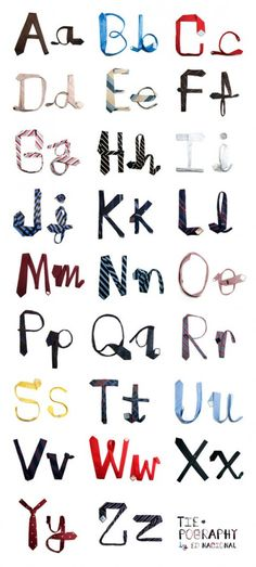 Tie-pography    How clever is this? Using ties to form letters shows the conceptuality of the designer.