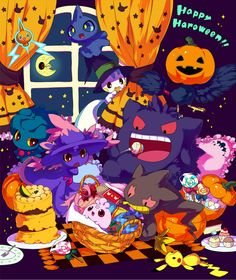 More Pokemon (I think im gettig tired of this halloween stuff. Pokemon Halloween, Anime Halloween, Kawaii Halloween, Halloween Art, Happy Halloween, Halloween Stuff, Ghost Type Pokemon, Pokemon Fan Art, All Pokemon