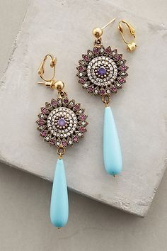 Sardinia Drops #anthropologieGreek designer Katerina Psoma fell in love with jewelry design while studying art history in Rome and London. During her travels she collected fine stones and rare ornaments that became the backbone of her first collection, launched in 2001. Inspired by architecture, Byzantine mosaics and her materials themselves, she combines vintage finds with semiprecious stones, Murano glass and crystal beads.