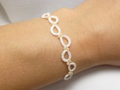 Tatted Lace jewelry Bridal Bracelet -Halo Steps in white with ivory glass beads