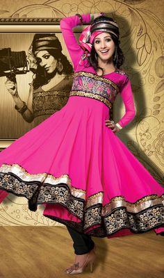 Bollywood Diva Natassha Georgette Long Anarkali Suit Price: Usa $129, British UK Pound £75, Euro95, Canada CA$ 137, Indian Rs6966.