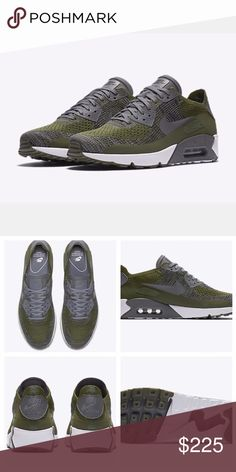 NIKE | AIRMAX 90 Ultra 2.0 Olive Green Flyknit ✔️Brand New in Box ✔️Never Been Worn ✔️Proof of Purchase Included ✔️Mens US Size 6/Womens 7.5 ✔️Runs Large (Fits like a M 6.5/W 8) ✔️Style #875943-300 ✔️Offers Accepted  🚫No Trades Nike Shoes Sneakers