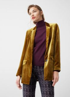 Velvet Fabric, Lapel With Notch, Long Sleeve, Two Side Pockets With Flaps, One Button Fastening, Inner Lining XXS,XS,S,M,L Mustard