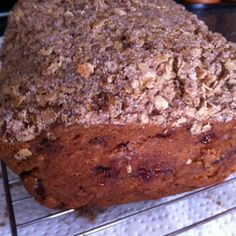 Strawberry bread with oat streusel topping.