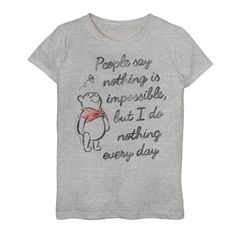 Disney's Winnie The Pooh Girls People Say Nothing Is Impossible Graphic Tee, Girl's, Size: XL, Grey Winne The Pooh Quotes, Cute Winnie The Pooh, Cute Good Morning Quotes, Cute Shirt Designs, Weekday Quotes, Love My Husband, Reading Quotes, Cute Shirts, Graphic Tees