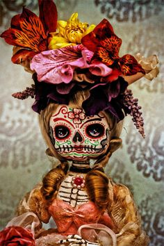 Steampunk Dia De Los Muertos Skull Doll PRINT 337 by Michael Brown. #edgy #fashion #rebellious #punk #rocker #chic #style #design #edgy #fashion #rebellious #punk #rocker #chic #style #design