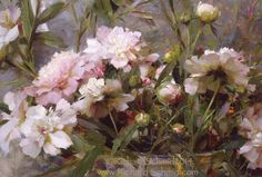 PEONIES (detail) 12x24 oil painting  by Richard Schmid