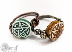 Kitchen Witches Pentagram Ring, Wire Wrapped in brass or copper. In Your size and colour. Wicca Pagan Pentacle Ring