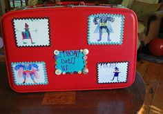 Idea to decorate vintage suitcase to make a dress up trunk.