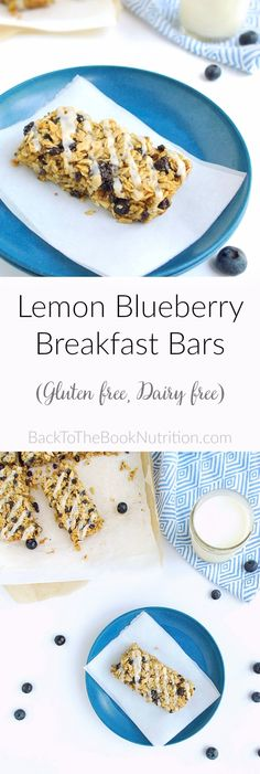 Lemon Blueberry Breakfast Bars - a sweet and healthy treat made with oats, chia, and almonds. Gluten free, dairy free.   Back To The Book Nutrition