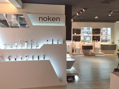 Trendy arrives to Taiwan with the new showroom of Noken, that shows its fittings with Gamadecor & L'Antic Colonial Kitchen And Bath Showroom, Tile Showroom, Showroom Design, Stand Design, Display Design, Tile Stores, Exhibition Booth Design, Retail Design, Bathroom Inspiration