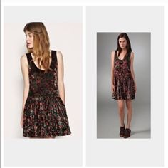 Free people crushed velvet flapper style dress Beautiful floral pattern! As seen on portlandia!!!  Free People Dresses Midi