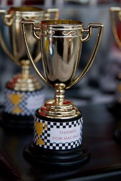 Race Car Party Trophy Favor Stickers Cars Birthday Party set of 32 by Belleza e Luce. $8.50, via Etsy.