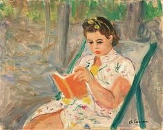 Menina lendo Charles Camoin (França, 1879-1965) óleo sobre tela, 27 x 35 cm