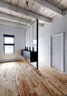 love the translucent glass partition + floating dresser