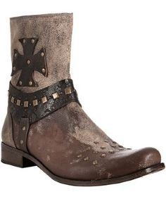 Mark Nason distressed brown leather studded boot