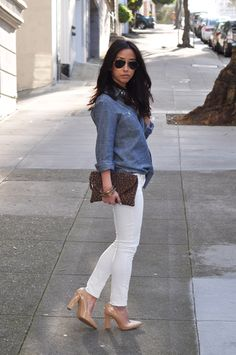 white jeans and chambray top