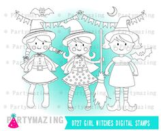 Cute Witches ClipArt Set Witch Halloween Digital by Partymazing