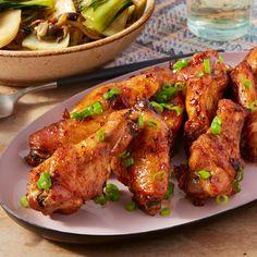 Soy-Glazed Chicken Wings with Hon Shimeji Mushrooms & Baby Bok Choy