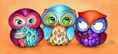 Owl Trio Painted Fabric Birds with Berries and by AnnyaKaiArt
