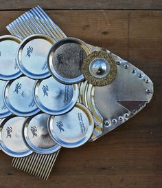 Found Object Sculpture CANNED FISH wall hanging by foundobjectart,