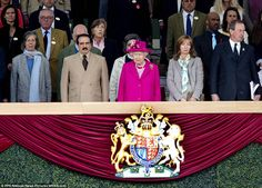 The Queen was pictured alongside members of the Bahrain Royal Family including King Hamad bin Isa Al Khalifa (second from left)