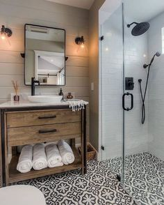 LOVE Floor tile with shiplap and wood for guest bathroom