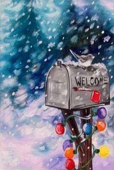 Mail Box Winter Painting, Winter Art, Diy Painting, Watercolor Paintings, Painting Canvas, Diy Canvas, Beginner Painting On Canvas, Watercolors, Paint And Sip