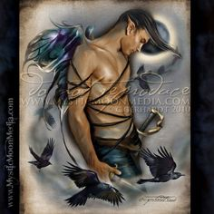 """""""Raven"""" - from my Warrior Fay Collection. This collection was created as a tribute to all those who protect the fairy realm.  These are their warriors... the ones who keep them safe in times of unrest.  Each warrior is accompanied by the earthly creature companions. http://www.mysticmoonmedia.com/collections/art-gallery-giclee-prints-mystic-moon-media/products/raven #FantasyArt #FantasyArtwork #DigitalPainting #FantasyArtPrints #digitalFantasyArt #malefairy #manfairy #sexy"""