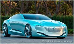 This 2013 BUICK RIVIERA CONCEPT CAR, unveiled at the Shanghai Auto Show, was conceived to be a hybrid. It includes many futuristic features such as full  autopilot and no door handles. I love that wild aqua color... ------ :) Bev