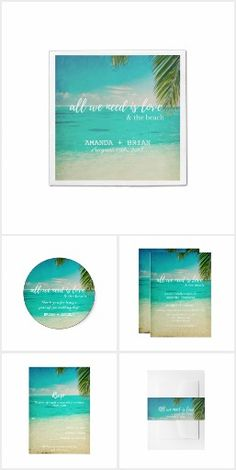 """Love and the Beach Wedding Invitation Collection Wedding products perfect for your beach or tropical destination wedding! Turquoise water, white sand and palm tree """"All we need is love and the beach"""" design wedding collection. This collection includes beach wedding invitations, rsvp card, thank you card, napkins, favor stickers + more."""