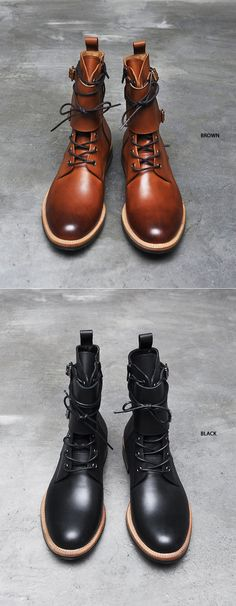 Shoes :: Double Buckle Strap Vanish Kipskin Boots-Shoes 252 - Mens Fashion Clothing For An Attractive Guy Look