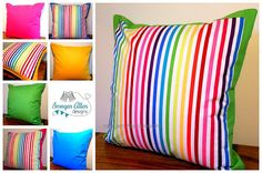 Fabulous rainbow striped cushions with by ImogenAllenDesigns