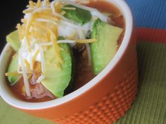 Crock Pot Taco Soup. High protein, high fiber, healthy fats, and super easy!