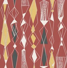 Eco Revival (5682) - Eco Wallpaper Wallpapers - Random geometric shapes formed in vertical lines giving a retro feel. Shown in white, black and yellow on a red background - more colours are available. Please request a sample for true colour match. Paste-the-wall product.