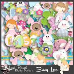 Bunny Love Digital page Kit 300 ppi 12x12 3600x3600 Pu, S4H, S4O 10 12x12 3600x3600 300 ppi jpg papers 50 png elements in 300 ppi Quality Checked