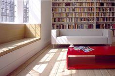 windowseat & wall of books... love