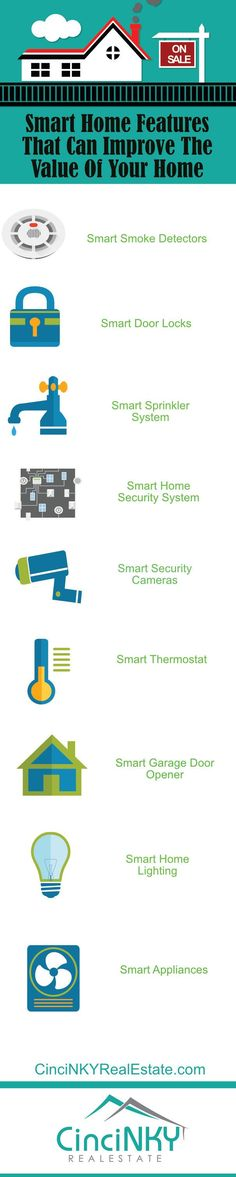 Infographic picture Smart Home Features That Can Improve The Value Of Your Home http://cincinkyrealestate.com/smart-home-features-home-value/ via @paulsian #realestate