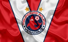 Download wallpapers Veracruz FC, Tiburones Rojos de Veracruz, 4k, Mexican Football Club, emblem, logo, sign, football, Primera Division, Liga MX, Mexico Soccer Championship, Veracruz, Mexico, silk flag