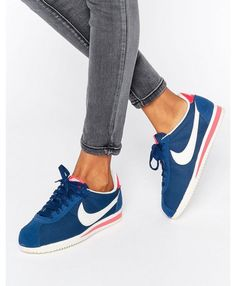 the latest c7087 d2c71 Femme Nike Cortez Bleu Blanc Rouge Nike Shoes, Nike Classic Cortez, Nike  Cortez Leather
