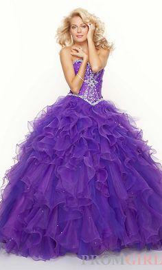 Long Ruffled Strapless Beaded Ball Gown