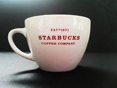 2010 White Starbucks Mug  Giant 18 ounces bone china  Double sided logo printed on both sides of mug  Coffee Tea Hot Cocoa Chocolate cup  Discontinued