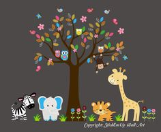 Wall Decal Tree with Jungle Animal Patterned Leaves, Giraffe, Elephant, Zebra, Tiger - Baby Wall Decal - Nursery Wall Decal - 182