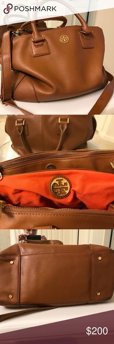 Tory Burch Robinson Tory Burch Robinson in perfect neutral tan - a truly versatile timeless bag! Good shape overall except for break in leather on one handle (see first pic)- a cobbler or other leather worker can fix/stitch but I keep putting off taking it to my shoe guy! Great bag- make me an offer!!! Tory Burch Bags