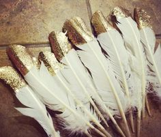 feathers with gold top