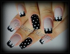 Black and white nails with polka dots and bows White Nail Designs, French Nail Designs, Simple Nail Designs, Nail Art Designs, Nails Design, Pedicure Designs, Trendy Nail Art, Cute Nail Art, Fancy Nails
