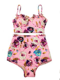 Pink+Flora+Top+and+High+Waisted+Waist+Shorts+Bottom+by+venderstore,+$39.99