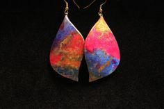 Fire and Ice  Watercolor Earrings by PaperRainJewelry on Etsy, $25.00