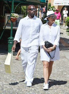 All white there! Kris Jenner opted to go for a fun wardrobe choice while she was in Portofino, Italy with her boyfriend Corey Gamble where they chose to wear his and hers ensembles on Monday