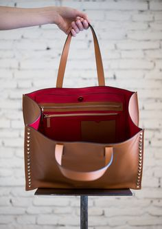 Camel Rockstud Leather Tote